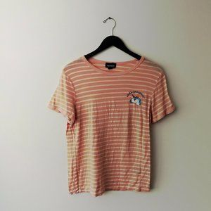 What's Your Point Unicorn Striped Tee Trendy Pink